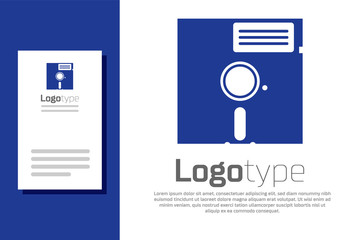 Blue Floppy disk in the 5.25-inch icon isolated on white background. Floppy disk for computer data storage. Diskette sign. Logo design template element. Vector Illustration