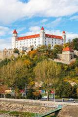 bratislava castle on the hill. beautiful travel destination of slovakia. sunny weather with clouds on the sky.
