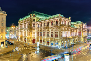 Garden Poster Vienna vienna state opera house in austria at night. popular tourist destination in beautiful street light. view from albertina museum balcony
