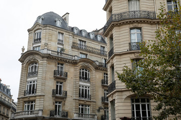Facades of luxury Hausmannian buildings are pictured in the 7th arrondissement district of Paris