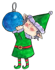 watercolor illustration beautiful Christmas cute elf with blue ball toy in green suit on white background