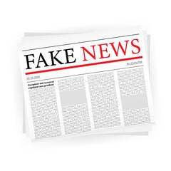 Fake news realistic newspaper on white backgraund. vector illustration.