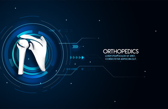 Medical orthopedic abstract background. Treatment for orthopedics traumatology of shoulder bones and joints injury. Medical presentation, hospital. Vector illustration