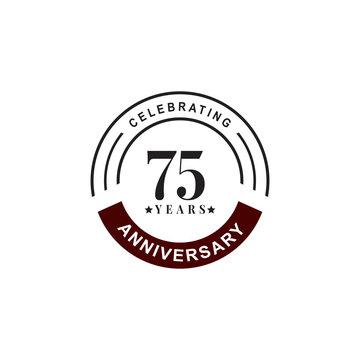 75th year celebrating anniversary emblem logo design template