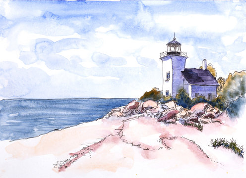 The watercolor lighthouse on the seashore