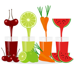 Freshly squeezed juice in a glass. Proper nutrition. Healthy Lifestyle.