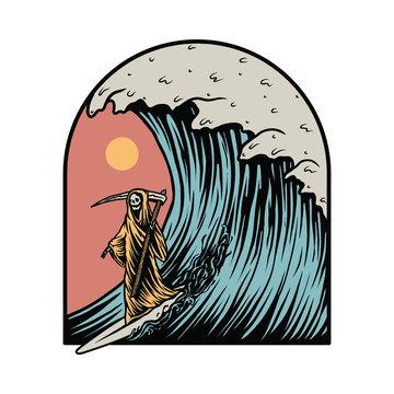 Grim Reaper Surfing Summer Graphic Illustration Vector Art T-shirt Design
