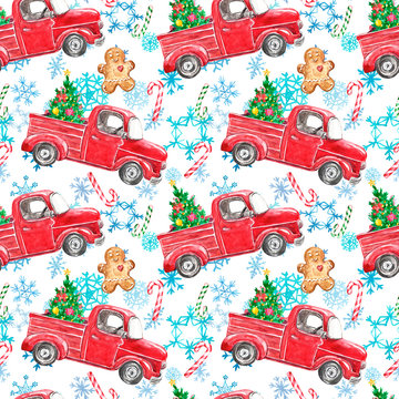 Festive Christmas seamless pattern with watercolor red truck, holiday fir tree, candy cane, gingerbread cookie on snowflakes background. Winter decorative print with cartoon vintage car and ornaments