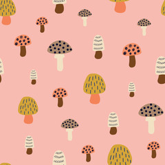 Mushroom seamless vector pattern. Modern doodle background hand drawn mushroom nature illustration in pink white brown gold. For kids fabric, fall decoration, Thanksgiving card, surface pattern design