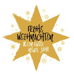 Frohe Weihnachten und ein gutes neues Jahr Kalligraphie - Stern. Grußkarte mit Weihnachtsbaum, Geschenken, Sternen und Kerzen