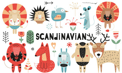 Cute scandinavian animals set. Hand drawn. Doodle cartoon characters for nursery posters, cards, kids t-shirts. Vector illustration. Bear, lion, tiger, hare, deer, hedgehog, mouse, fox, bird, flowers.