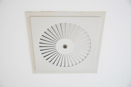 close-up of ceiling cassette air conditioner unit