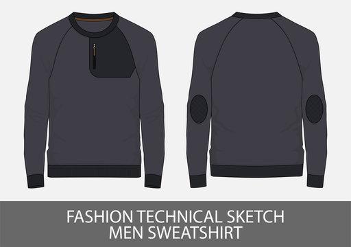 Fashion technical sketch men sweatshirt