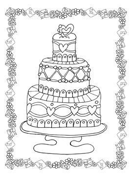 Wedding coloring page isolated with line art wreath