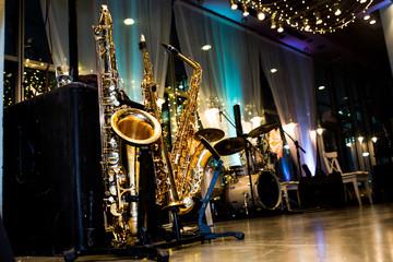 Golden Saxophone on the floor