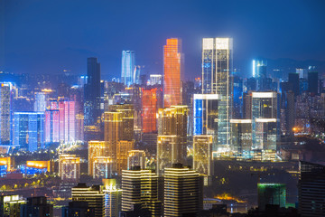 Poster Bangkok Panoramic city scenery, beautiful night view of Chongqing City in China
