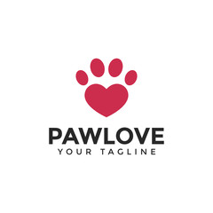 Love & Cat or Dog Paw Print, Pet Logo Design Template