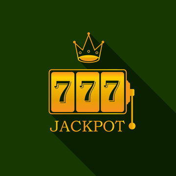 King slots 777 banner casino on the dark green background. Big win 777 lottery vector casino with slot machine. Vegas game concept. Vector illustration