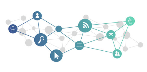 Obraz icone, informatica, rete sociale, connessione internet - fototapety do salonu