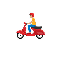 Motor scooter with driver. Scooter, vector illustration