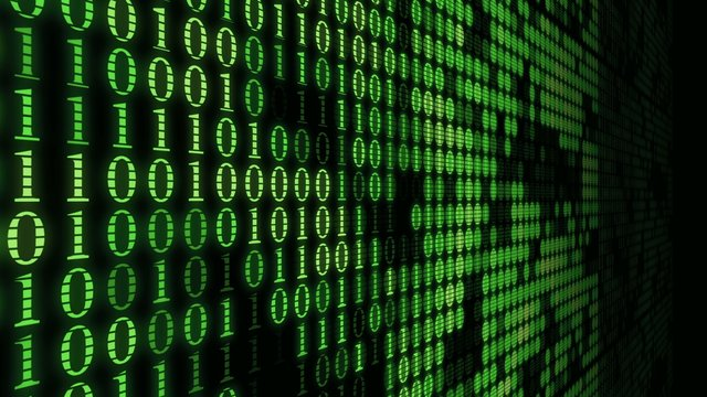 Green wall of numbers matrix machine code blinking computer process background