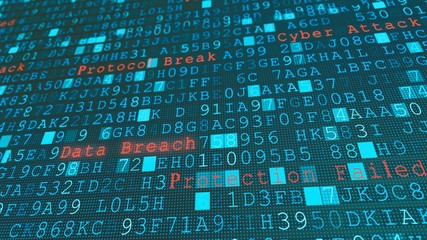 Digital wall virus data breach, system failure due to hacker server cyber attack - fototapety na wymiar