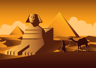 Sphinx and Pyramid famous landmark of Egypt,cartoon version,vector illustration