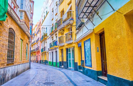 The narrow street in old Cadiz, Spain