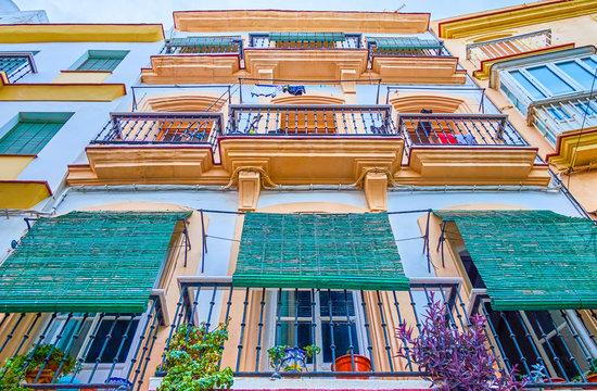 The old residential house in Cadiz, Spain