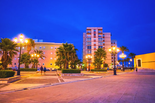 The large square in promenade of Cadiz, Spain