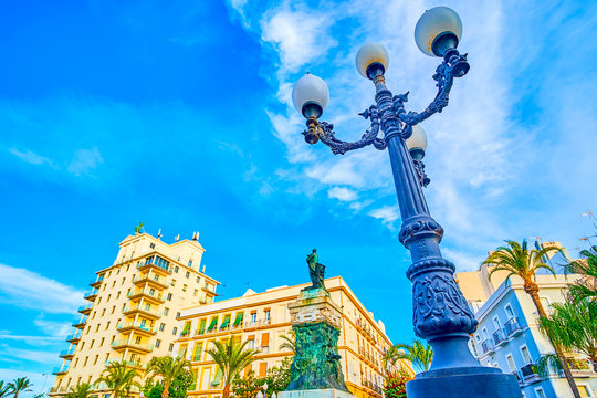 The vintage streetlights at Plaza de San Juan de Dios in Cadiz, Spain