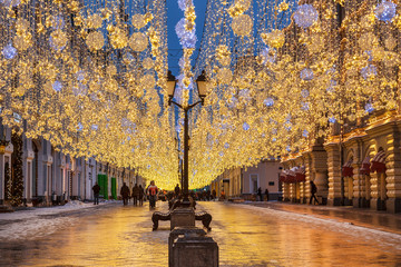Nikolskaya street decorated during Christmas and new year holidays, Moscow, Russia