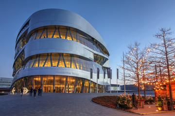 Night view of Mercedes-Benz Museum, Stuttgart, Germany on December 27, 2016