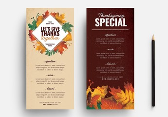 Thanksgiving Menu Layout with Leaf Illustrations