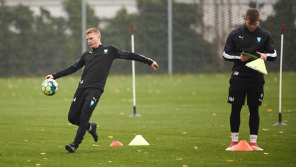 Malmo FF Anders Christiansen attends a training session at Malmo Stadium, in Malmo