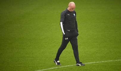 Malmo FF coach Uwe Rosler looks on during a training session at Malmo Stadium, in Malmo