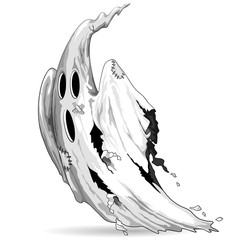 In de dag Draw Ghost Funny Scratched and Scared Character Vector Illustration isolated on White