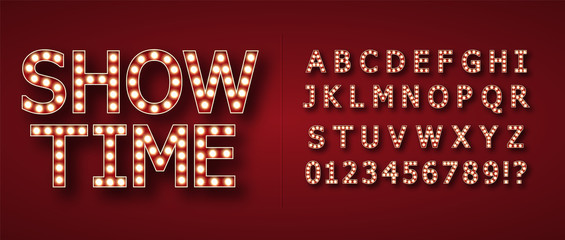 Retro alphabet from Edison lamps. For registration of advertising signs, banners, posters. On red background. Golden lighting. Glitter light. Show time. Volumetric image. Isolated.