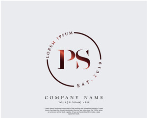 Initial letter PS beauty handwriting logo vector