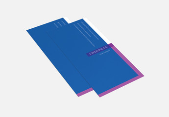 Trifold Brochure Layout with Blue and Purple Accents