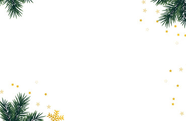 Christmas background with christmas gifts and fir tree branch.