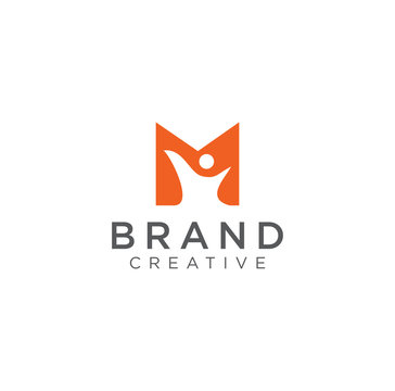 Abstract Letter m People Logo Design Vector Stock . M People Relationship Logo Design Template