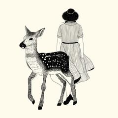 Frau mit Reh