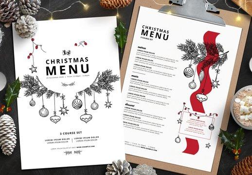 Christmas Menu Layout with Illustrative Elements
