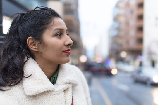 Young indian woman visiting a new city