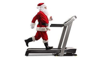 Santa Claus running on a treadmill