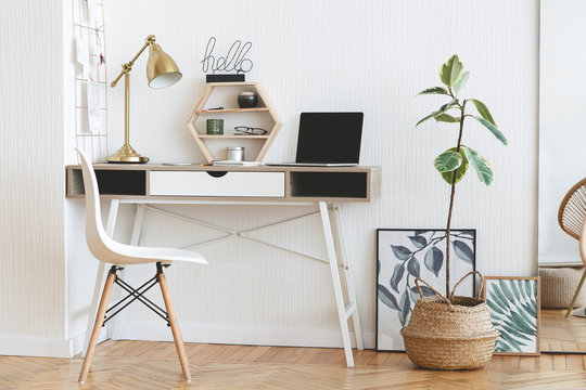 Modern home working place in scandinavian style