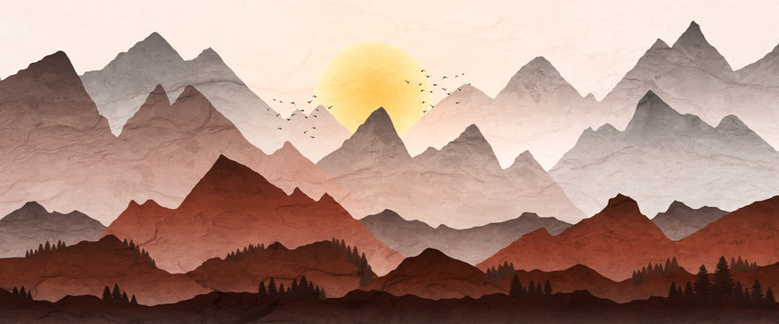 Mountain landscape illustration, with sunset and mist in valley.