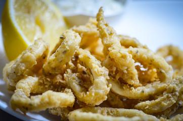 fried calamari dish with lemon & tartar sauce