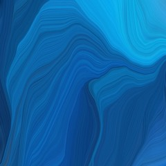 In de dag Abstract wave futuristic wavy motion speed lines background or backdrop with strong blue, dodger blue and midnight blue colors. good as graphic element